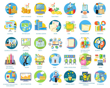 Illustration for Set of busines round icons in different items such as business plan, statistics, business conference, planning, top mobile applications, earnings from mobile applications in flat on white background - Royalty Free Image