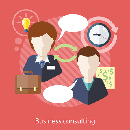 Ilustración de Business consulting. Concept with text.  Businessman and female consultant with speech bubbles. Icons for web design, analytics, graphic design and in flat design - Imagen libre de derechos