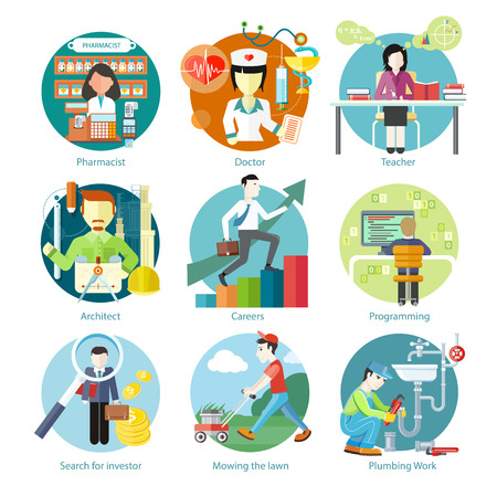 Ilustración de Set of circle colorful icons with different professions in trendy flat style. Teacher, doctor, architect, pharmatist, investor.  Template elements for web and mobile applications - Imagen libre de derechos