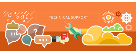 Ilustración de Technical Troubleshooting and Support from the cloud. New technologies. For web site construction, mobile applications, banners, corporate brochures, book covers, layouts etc. - Imagen libre de derechos