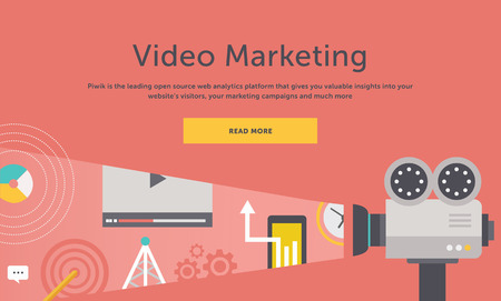 Ilustración de Video marketing. Approaches, methods and measures to promote products and services based on video. For web construction, mobile applications, banners, corporate brochures, book covers, layouts etc - Imagen libre de derechos
