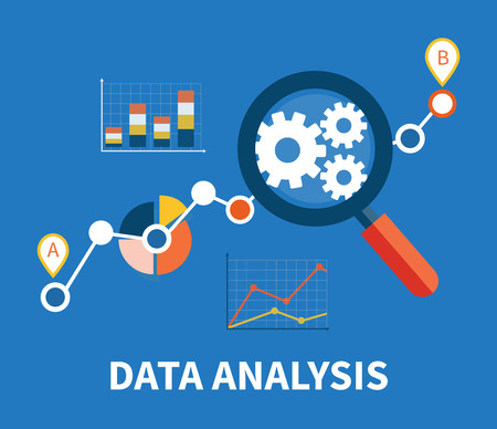 Ilustración de Banner with focused magnifying glass on gear and multicolored pie chart with name Data analysis on blue background. For web construction, mobile applications, banners, corporate brochures, layouts - Imagen libre de derechos