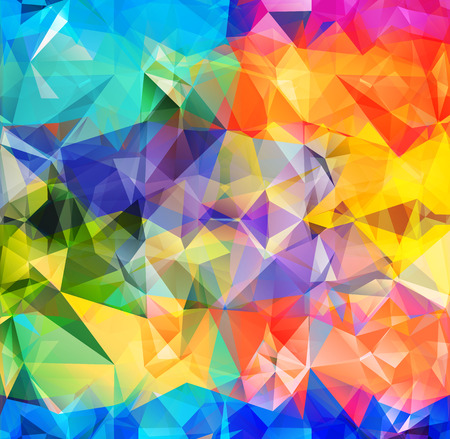 Ilustración de Abstract geometric background version 7. Multicolored triangles. Beautiful inscription. Triangle background with bright lines. Pattern of crystal geometric shapes. Mosaic banner - Imagen libre de derechos
