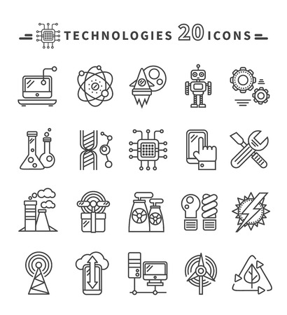 Photo for Set of technologies black thin, lines, outline icons for energy, robotics, communications, environment, aerospace, mechanical engineering on white background. For web construction, mobile applications - Royalty Free Image