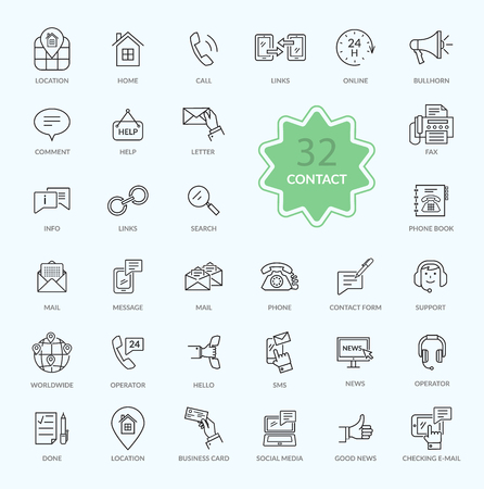 Thin, lines, outline icons of contact. Support concept set. Feedback icon. For web site construction, mobile applications, banners, corporate brochures, book covers, layouts etc.