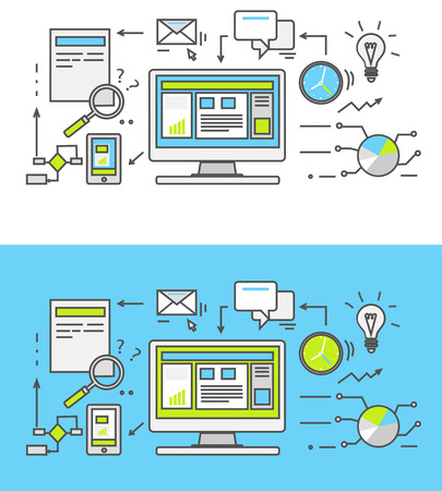 Ilustración de Thin line SEO icons. Pictogram for websites and mobile applications. Search engine optimization. SEO optimization, programming process and web analytics elements in flat design. Monitoring, traffic - Imagen libre de derechos