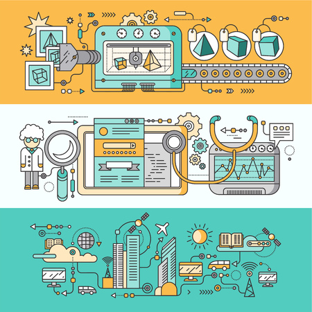 Illustrazione per Concept smart innovation technology. 3D printer and seo analytics, infrastructure and smart industry city, system development, management and control illustration. Set of thin, lines flat icons - Immagini Royalty Free
