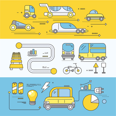 Photo for Concept car of the future road transport. Traffic automobile, drive technology, auto electric, futuristic engine, innovation efficiency progress illustration. Set of thin, lines, outline flat icons - Royalty Free Image
