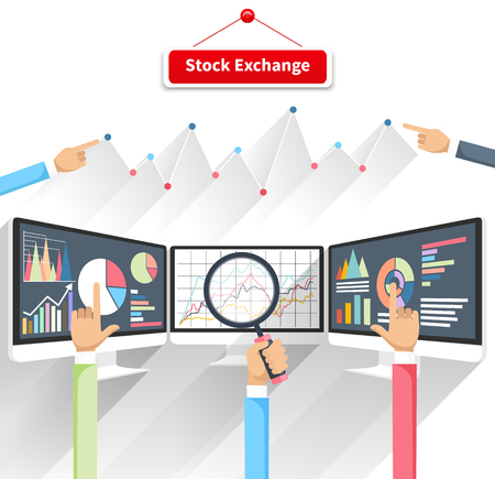 Illustration pour Price movement. Stock exchange rates on monitor. Profit graph diagram. Electronic stock numbers. Profit gain. Business stock exchange. Live online screen. Concept on white background in flat design - image libre de droit