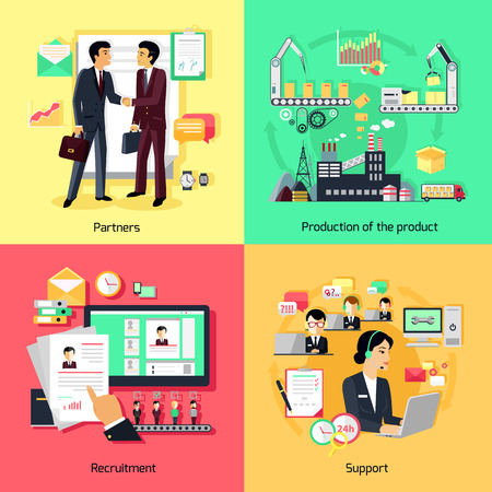 Illustration pour Concept of recruiting support and partnership. Partnership business, career and productivity collaboration, assistance working, strategy process development, professional management illustration - image libre de droit