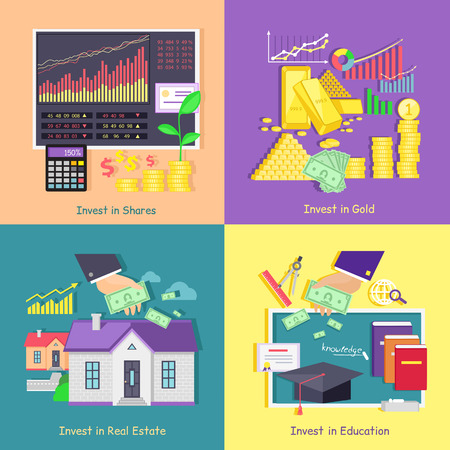 Illustration pour Investing in gold, studies, real estate shares. Investment education and property, finance business, wealth and money, financial saving, invest market, banking economy, development growth illustration - image libre de droit