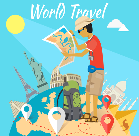 Illustration pour Concept of the world adventure travel. Relaxation journey, leisure and rest tourism, statue liberty, eiffel tower, colosseum and tourist with map, trip global tour illustration - image libre de droit