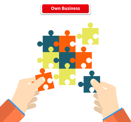 Illustration pour Creating or building own business concept. Puzzle piece, construction and development, build construct, idea and success, solution and growth, challenge and jigsaw illustration - image libre de droit