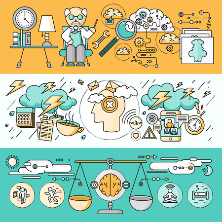Illustrazione per Diagnosis of brain psychology flat design. Psychiatry therapy, disorder and meditation, emotion stress, human mind health, intellect and medicine, mental and neurology. Set of thin, lines icons - Immagini Royalty Free