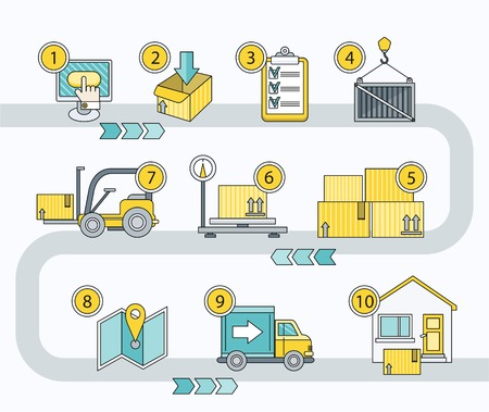 Illustration pour Transport logistics parcel delivery. Transportation and warehouse, cargo and shipping service, package export, distribution process, order chain, trolley and load illustration - image libre de droit