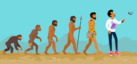 Ilustración de Concept of human evolution from ape to man. Development progress, primate growth, ancestor and mankind, caveman and neanderthal, mammal generation illustration. Man doing selfie with monopod - Imagen libre de derechos