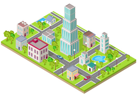 Illustration pour Isometric icon of the city is flat. Building house architecture, street urban town, map and construction, skyscraper exterior, facade and estate, residential office or home illustration - image libre de droit