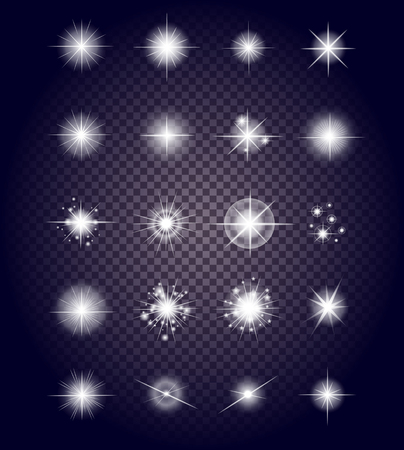 Illustration pour Set glows bright star light fireworks. Flash and glow, sparkle illuminated, flare effect, shine explosion, glitter and twinkle, spark magic, decoration starburst, shiny illustration - image libre de droit