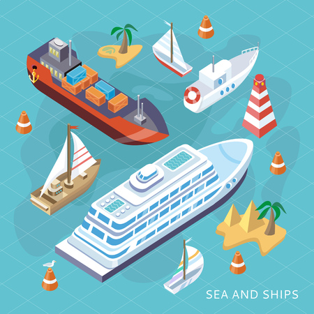 Photo for 3d isometric set ships. Sea transport. Island and buoy, motorboat and containership, cruise and tanker, cargo shipping, boat transportation, ocean and vessel, vector illustration - Royalty Free Image