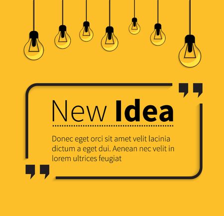 Ilustración de Quote bubble, quote marks, quotation marks, quote box, get a quote. Phrase new idea in quotes on yellow. Text poster, message typography, motivation wisdom, saying and note, quotation and inspire. - Imagen libre de derechos