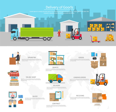 Foto de Delivery of goods logistics and transportation. Buyer and contract, loading and search, operator shop on-line, logistic and transportation, warehouse service illustration - Imagen libre de derechos