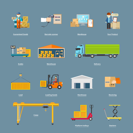 Foto de Set of icons transport logistics concept. Warehouse and production, stackers and trolley, scanner barcode, guaranteed and loading, crane and logistic illustration - Imagen libre de derechos