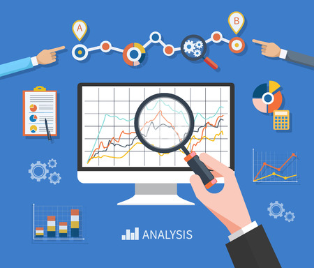 Illustration pour Banner with focused magnifying glass on gear and multicolored pie chart with name Data analysis on blue background. Hand holding a magnifying glass at the monitor with the schedule graph - image libre de droit