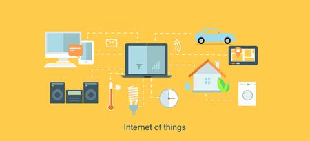 Ilustración de Internet of things icon flat design.  - Imagen libre de derechos