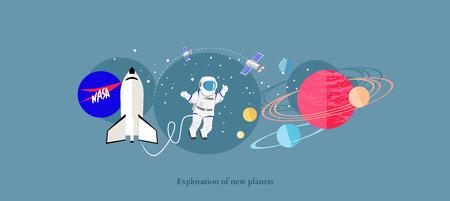 Ilustración de Exploration new planets icon flat isolated.  - Imagen libre de derechos