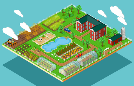 Illustration for Isometric 3d icon flat farm agriculture.  - Royalty Free Image