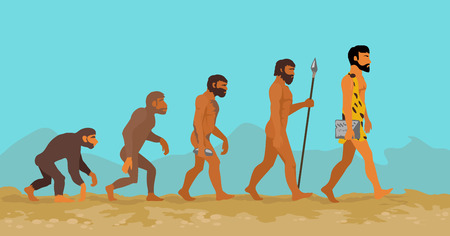 Illustration pour Concept of human evolution from ape to man. Man evolution. Development progress, primate growth, ancestor and mankind, caveman and neanderthal, mammal generation illustration. Neanderthal and monkey - image libre de droit