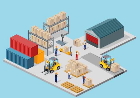 Ilustración de Icon 3d isometric process of the warehouse. Warehouse interior, logisti and factory, warehouse building, warehouse exterior, business delivery, storage cargo illustration - Imagen libre de derechos