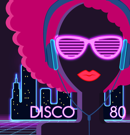 Photo for Disco 80s. Girl with headphones. Party and dance, dj and club, disco party, disco background, disco lights,  music and retro sound audio, poster vintage illustration - Royalty Free Image
