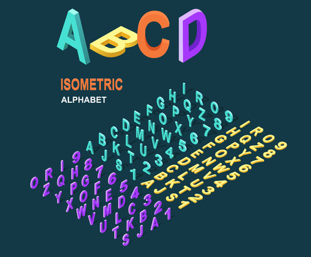 Illustration pour Isometric design style alphabet. Letter and 3d alphabet, alphabet letters, font and numbers, kids alphabet, abc and typography, type geometric text, typographic lettering illustration - image libre de droit