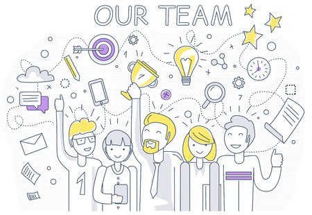 Illustration pour Our success team linear design. Teamwork and business team, our team business, office team, business success, work people, company and leadership, businessman and worker, resource office illustration - image libre de droit