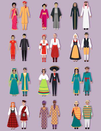 Illustrazione per Set of national costumes design. Arabs, russians or ukrainians, spaniards and japanese, indians nation, native culture, cloth person, tradition asia country illustration - Immagini Royalty Free