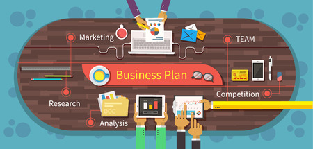 Illustration pour Business plan marketing research analysis. Competition team, business strategy, business model, business meeting, office and market, management and chart, data information illustration - image libre de droit