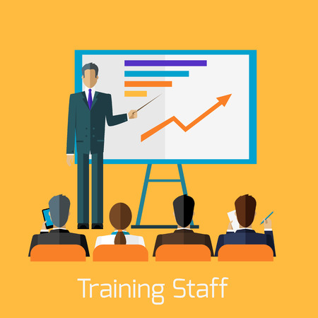 Illustration pour Training staff briefing presentation. Staff meeting, staffing and corporate training, employee training, mentor and people, business seminar, meeting group illustration - image libre de droit