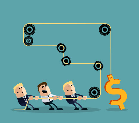 Illustration for Happy businessman pulling rope with dollar through several intermediaries gears cartoon flat design style. Team, teamwork concept, working together, collaboration, business teamwork,  leadership - Royalty Free Image