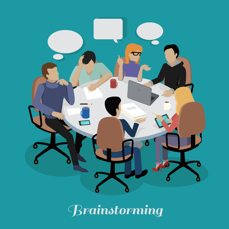 Ilustración de Meeting and discussion briefing. Business meeting, conference and meeting room, business presentation, office teamwork, team corporate, workplace discussing illustration - Imagen libre de derechos