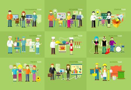 Illustration pour Work team people job concept flat design.  - image libre de droit