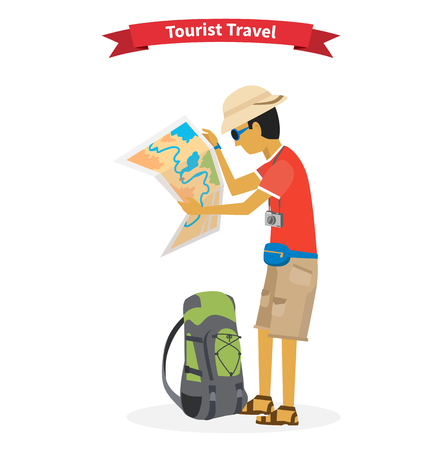 Illustration pour Tourist travel. Concept of the world adventure travel.  - image libre de droit