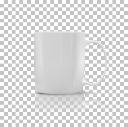 Ilustración de Cup or mug white color. Object coffee or tea, ceramic utensil, beverage breakfast, refreshment caffeine, handle container, realistic glossy elegance cup. Cup icon. Transparent background - Imagen libre de derechos