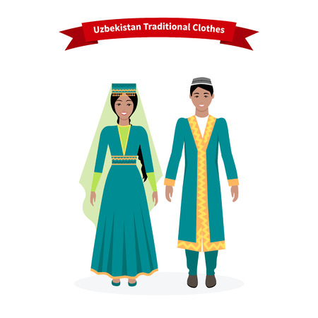 Illustration pour Uzbekistan traditional clothes people. Clothing hat beautiful, folk tradition, uzbek ornament, girl ethnicity, woman dress, person east and culture asian illustration - image libre de droit