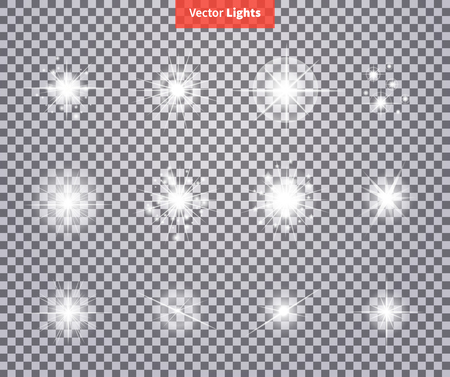 Illustration pour Set glows bright star light fireworks. Flash glow, sparkle illuminated, flare effect shine explosion, spark, starburst. Flare, star and burst. Isolated spark on transparency. Glow special effect light - image libre de droit