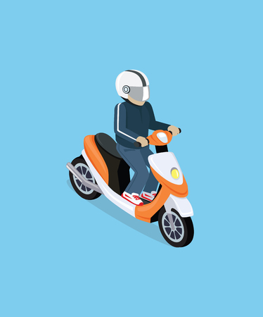 Illustration pour Flat 3d isometric motorcyclist on motorcycle. Motorbiker with motorcycle. Isometric motorcycle. Motorcycle isometric motor bike. Detailed illustration of isometric scooter. Isometric biker top view - image libre de droit