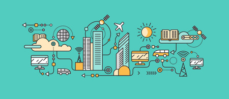 Illustration pour Smart technology in infrastructure city. Icon and network system, communication innovation town, connection and future, control information, internet. Smart industry city system development management - image libre de droit