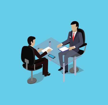 Illustration pour Isometric hiring recruiting interview. Look resume applicant employer. Hands Hold CV profile. Isometric 3d HR, recruiting, we are hiring. Candidate job position. Hire and interviewer. Business meeting - image libre de droit