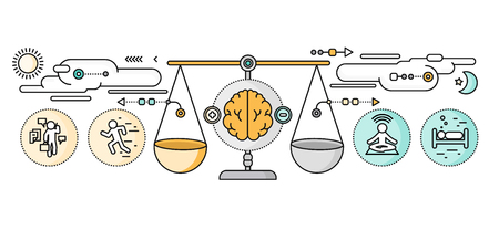 Illustrazione per Diagnosis of brain psychology flat design. - Immagini Royalty Free