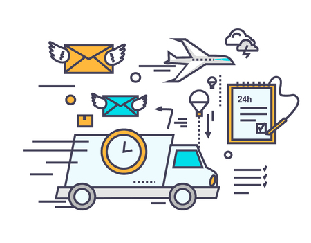 Illustration pour Fast delivery concept icon flat design. Service business transportation, cargo and courier, transport and distribution, logistic mail, receive envelope, send and time. Thin, line, outline icons - image libre de droit